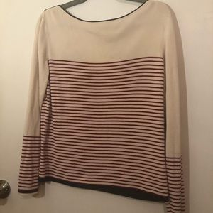 Ann Taylor Cream with Red Stripe Sweater XL